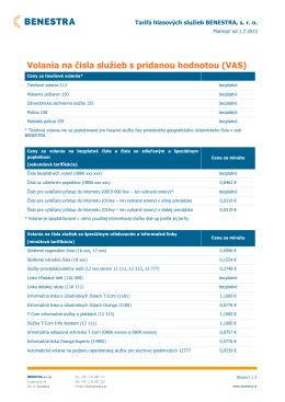 Volania na čísla služieb s pridanou hodnotou (VAS)