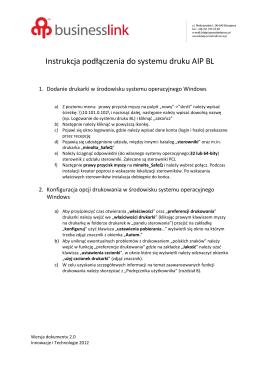 Instrukcja podłączenia do systemu druku AIP BL