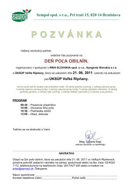 pozvánka - VELKE RIPNANY 2011