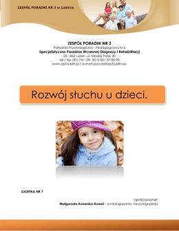 Rozwój słuchu u dzieci. - ZESPÓŁ PORADNI NR 3 w Lublinie