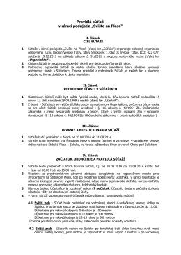 """Pravidlá súťaží v rámci podujatia """"Svište na Plese"""""""