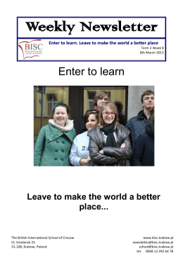 Weekly Newsletter - British International School of Cracow