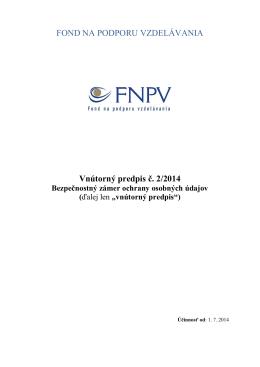 Vnútorný predpis č. 2/2014 - Fond na podporu vzdelávania