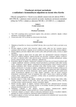 Všeobecné záväzné nariadenie o nakladaní s komunálnym