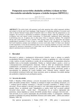 Postpozícia nerozvitého zhodného atribútu (výskum na báze