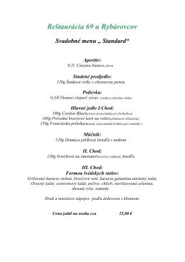 "Svadobné menu "" Standard"""