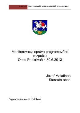 Monitorovacia správa programového rozpočtu k