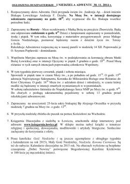 OGŁOSZENIA DUSZPASTERSKIE I NIEDZIELA ADWENTU 30. 11