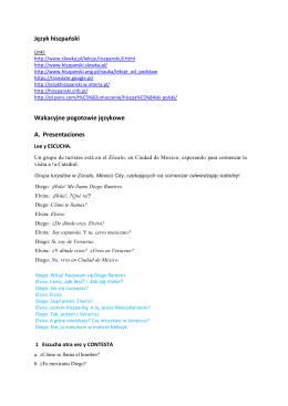Język hiszpański Wakacyjne pogotowie językowe A. Presentaciones