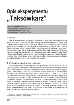 """Opis eksperymentu """"Taksówkarz"""""""
