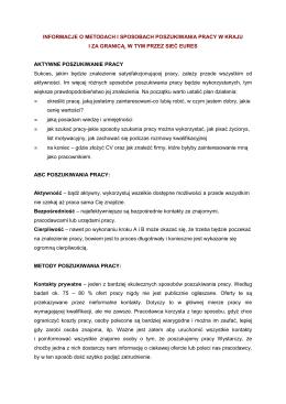 informacje o metodach i sposobach poszukiwania pracy w kraju i za