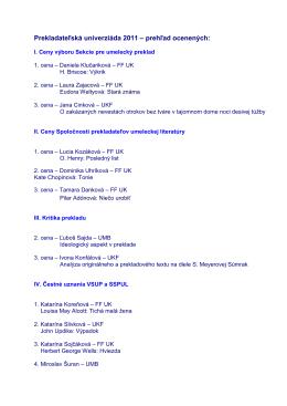 Prekladateľská univerziáda 2011 – prehľad ocenených: