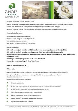 Pobierz ofertę weselną PDF - Z