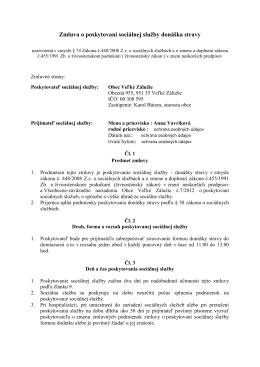 Zmluva o poskytovaní sociálnej služby donáška stravy