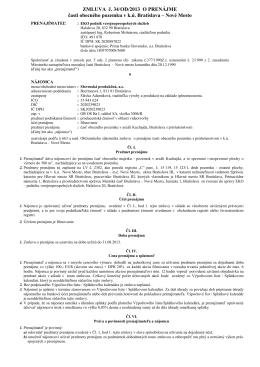 zmluva o nájme, nájom a služby bez DPH - EKO