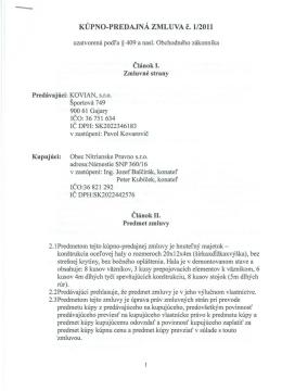 KUPNO-PREDAJNA ZMLUVA č. 1/2011