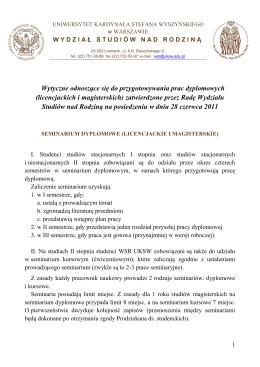 Wytyczne dla pisania prac dyplomowych na Wydziale Studiów nad