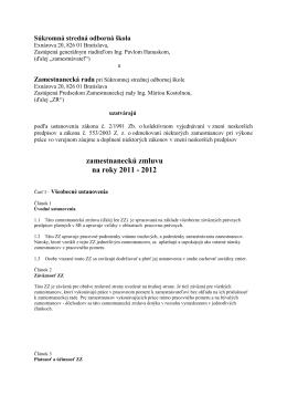 Zamestnanecká zmluva - Súkromná stredná odborná škola