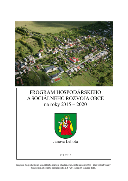 PHSR obce Janova Lehota - 2015