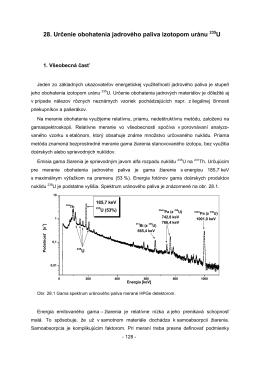 28. Určenie obohatenia jadrového paliva izotopom uránu 235