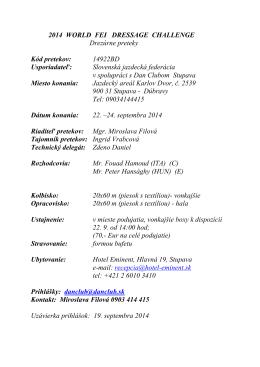 Rozpis - Slovenská jazdecká federácia