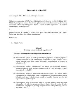 Dodatok č. 4 ku KZ - Základná škola, V. Javorku 32, Žilina