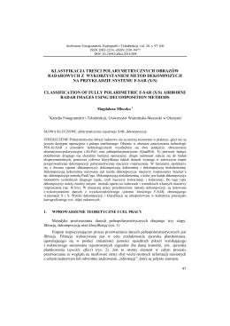 Magdalena Mleczko Klasyfikacja treści polarymetrycznych