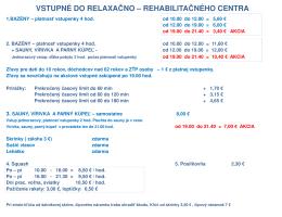 vstupné do relaxačno – rehabilitačného centra