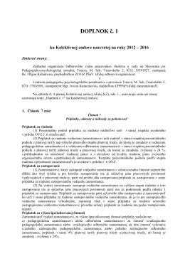 DOPLNOK č. 1 - Centrum pedagogicko – psychologického
