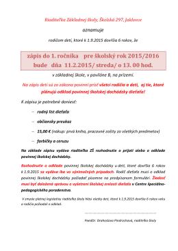 rodný list dieťaťa - Základná škola , Školská 297, Jaklovce