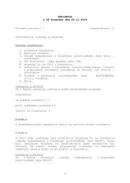 Zápisnica OZ zo dňa 6. 11. 2014