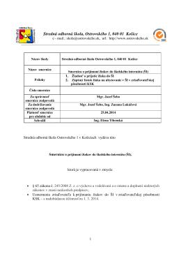 Smernica o prijímaní žiakov do školského internátu