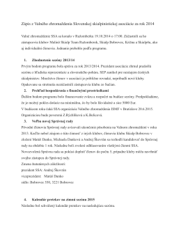 Zápis z Valného zhromaždenia SSA