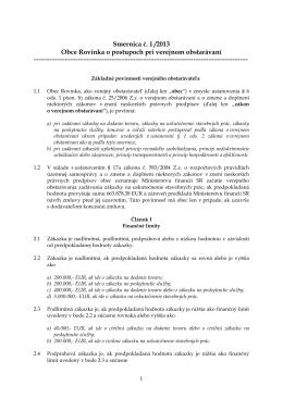 Smernica č. 1 /2013 Obce Rovinka o postupoch pri