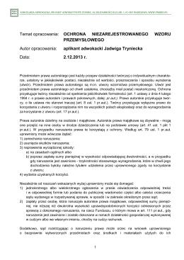 J. Tryniecka, Ochrona niezarejestrowanego wzoru przemysłowego