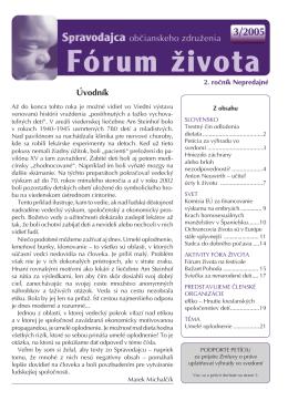 Spravodajca občianskeho združenia Fórum života 3/2005 (pdf, 1 MB)