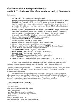 Účtovná závierka v podvojnom účtovníctve /podľa § 17