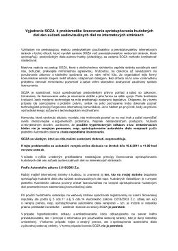 Vyjadrenie SOZA k problematike licencovania sprístupňovania