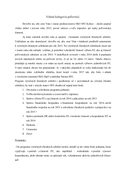 Oznam k VČS - Okresná organizácia SPZ Košice