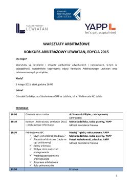 Program warsztatów - Sąd Arbitrażowy Lewiatan