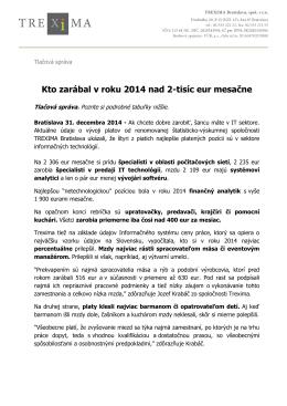 Kto zarábal v roku 2014 nad 2-tisíc eur mesačne