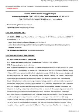 Sława: Przebudowa dróg gminnych Numer ogłoszenia: 3907