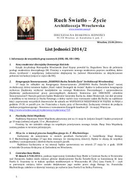2014-2 (pdf) - Ruch Światło-Życie Archidiecezji Wrocławskiej