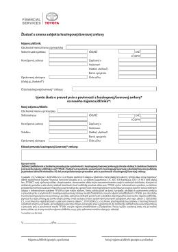 Žiadosť o zmenu subjektu - Toyota Financial Services