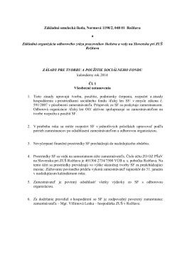 Zásady SF 2014 - ZUŠ v Rožňave a mesto Rožňava