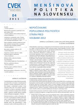 Menšinová politika na Slovensku 4/2011