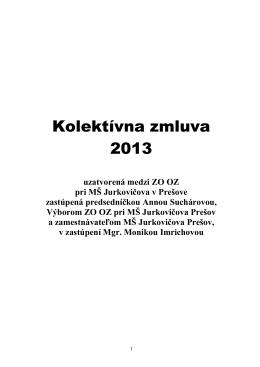 Kolektívna zmluva - MŠ Jurkovičova 17, Prešov