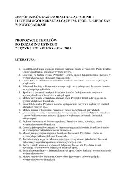 pobierz - I Liceum Ogólnokształcące w Nowogardzie