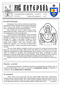Ekuména – pozvánka Presvätá Ochrankyňa Na zamyslenie