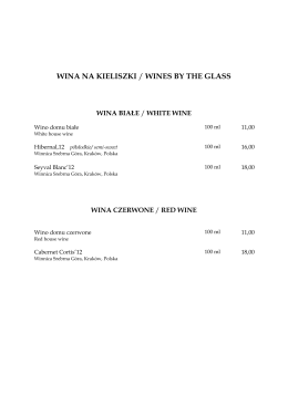 WINA NA KIELISZKI / WINES BY THE GLASS